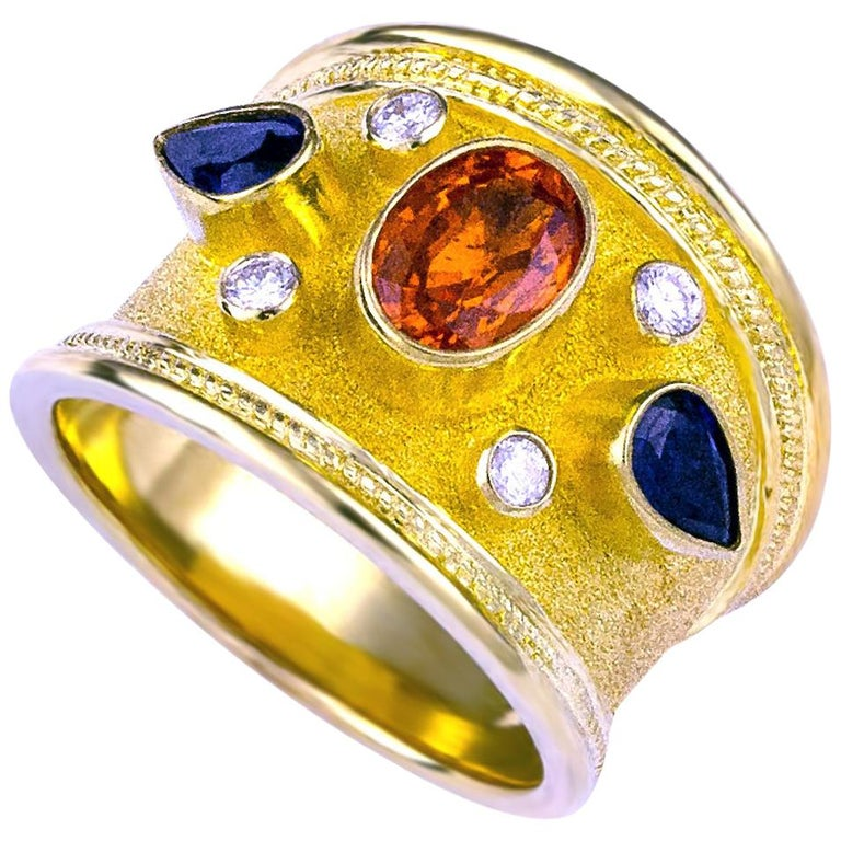 Georgios Collections 18 Karat Yellow Gold Diamond Ring with Multicolor Sapphires For Sale