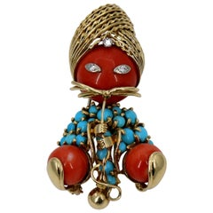 Gold Genie Brooch with Coral and Turquoise