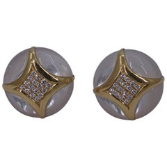 Gold Mother of Pearl and Diamond Button Earrings