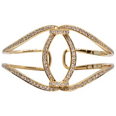 Estate Vintage 18 Karat Rose Gold Round Diamond Bangle Fashion Bracelet
