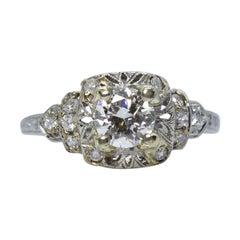 Platinum Diamond Art Deco Style Antique Vintage Engagement Ring