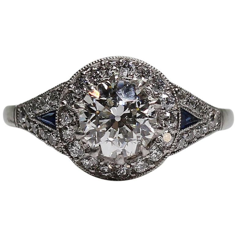 Platinum Art Deco Style Sapphire and Diamond Halo Engagement Ring