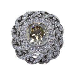 Edwardian Style 2.75 Carat Platinum Old Mine Cut Brown Diamond Engagement Ring