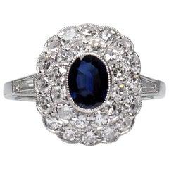 Platinum Antique Art Deco Style Sapphire and Diamond Halo Ring