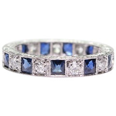 Antique Art Deco Style Sapphire and Diamond Eternity Band Ring