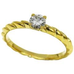 Chaumet 0.27 Carat Diamond 18 Karat Gold Torsade De Chaumet Solitaire Ring