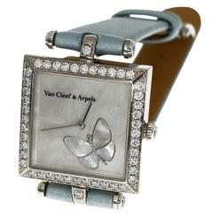 Van Cleef & Arpels Diamond Shell 18 Karat Gold Papillon Square S Ladies Watch