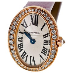 Cartier Mini Baignoire Diamond 18 Karat Pink Gold New Pink Strap Ladies Watch