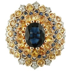 4ct Central Blue Sapphire, Blue and Yellow Sapphires, Diamonds, Rose Gold Ring