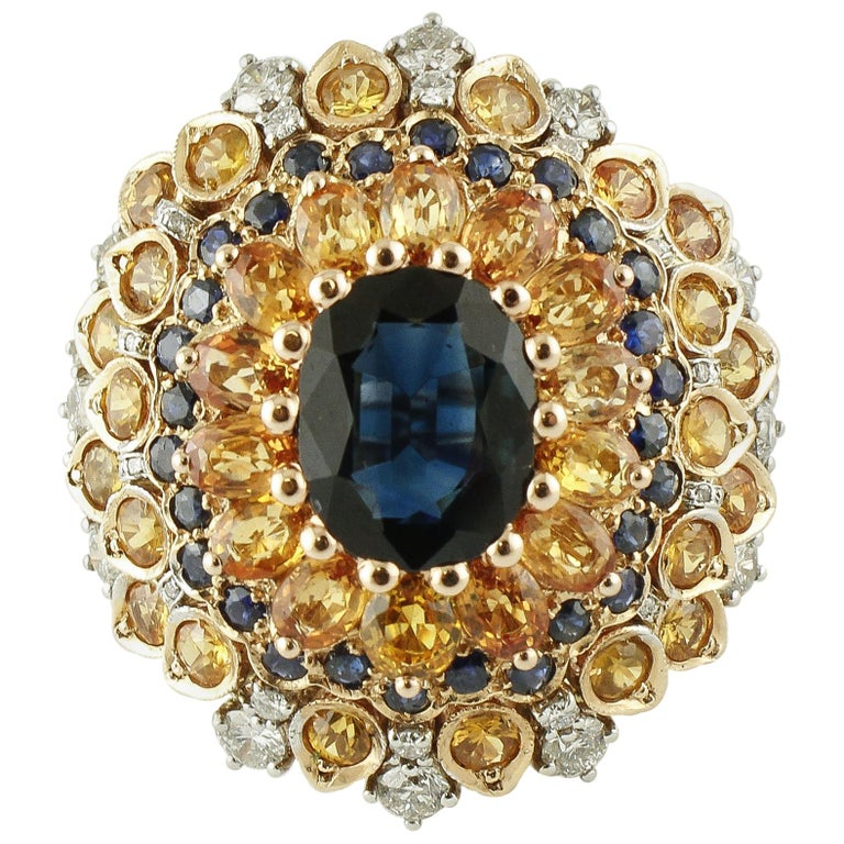 4ct Central Blue Sapphire, Blue and Yellow Sapphires, Diamonds, Rose Gold Ring For Sale