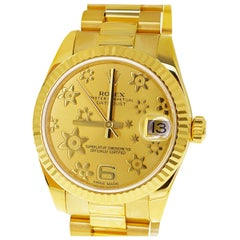 Rolex 178278 Date Just 18 Karat Yellow Gold Flower Dial Automatic Midsize Watch