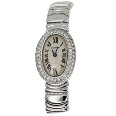 Cartier Mini Baignoire Diamonds 18 Karat White Gold Quartz Watch