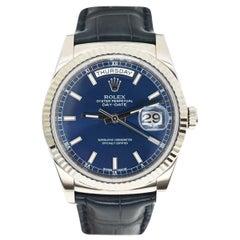 Rolex 118139 Blue Day-Date 18 Karat White Gold