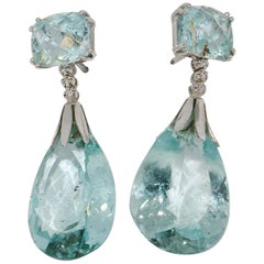 Natural Aquamarine Drop, Stud Earrings, with Diamonds, 18 Karat White Gold