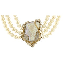 Diamonds, Opals, Akoya Pearls, 18 Karat Gold, Multi-Strands Beaded Necklace