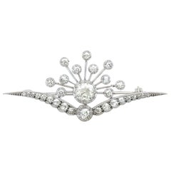 Antique Victorian 3.87 Carat Diamond and White Gold Brooch Circa 1880