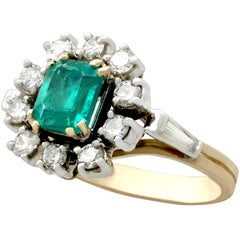 Emerald Diamond Yellow Gold Cluster Ring
