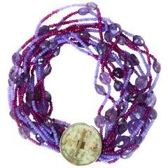 Necklace with Antiques Jade Amethyst Rubelite Lavander Jade 18 Karat Gold