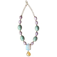 Jade Rose Opal Amber 18 k Gold Necklace