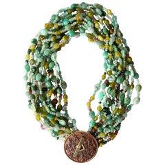 Tourmaline Jade Amazzonite Coin 18 k  Gold Torchon Necklace