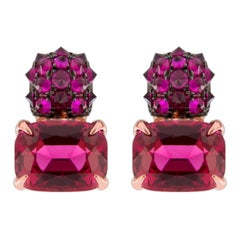 Jona Red Spinel and Ruby 18 Karat Rose Gold Stud Earrings