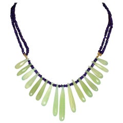 Faced Amethyst and Green Calcedonio Drops 18 Karat Gold Linked Cactus Necklace