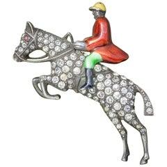 Antique Victorian Equestrian Horse Riding Brooch Silver Paste, circa 1900