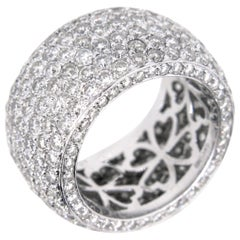 Large Band Pave Diamonds White Gold Design Fashion Ring