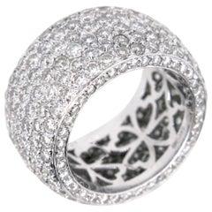 Large Band Pave Diamonds White Gold Design Fashion Ring