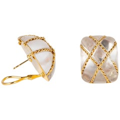 Seaman Schepps Crystal and Gold Cage Earrings
