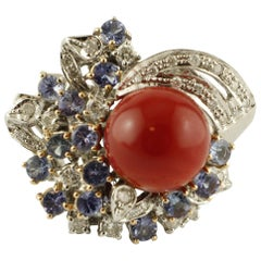 Oxblood Coral, Blue Sapphires, Diamonds, 14 Karat White Gold Cocktail Ring