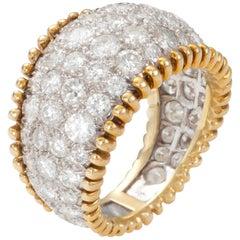 5 Carat Diamond Band Platinum and 18 Karat Yellow Gold Ring