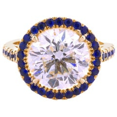 Certified 5.61 Carat Round, G color SI1 clarity, Diamond 18 Karat Yellow Gold