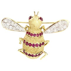 18 Karat Diamond and Ruby Bee Brooch