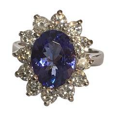 Princess Diana Inspired Tanzanite Diamonds Ring