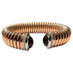 18 Karat Rose Gold Flexible Cuff Bracelet with Amethyst and Diamond End Caps