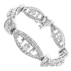 Art Deco Platinum 9.50 Carat Diamond Bracelet