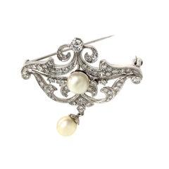Edwardian Platinum 2.5 Carat Diamond Brooch Culture Pearl Pendant
