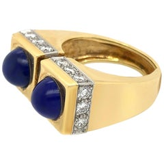 Tiffany & Co Yellow Gold Diamond Lapis Ring Set with 2 Lapis Lazuli Stones