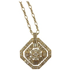 White Diamonds 18 Karat Yellow Gold Pendant by Marion Jeantet