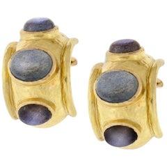 Elizabeth Locke Labradorite Gold Puffy Bezel Earrings