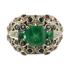 Emeralds, Diamonds, Blue Sapphires, Rubies 18 Karat White Gold Cluster Ring