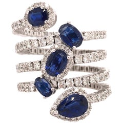 Ruchi New York Multi Shaped Kyanite and Diamond Cocktail Ring