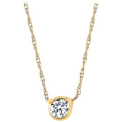 Thirty Five-Point Bezel Set Yellow Gold Pendant Necklace