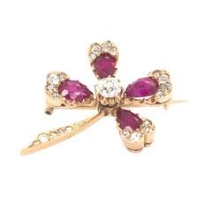 Clover Diamond Ruby Antique Brooch