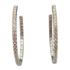 Hearts on Fire 18 Karat White Gold 2.20 Carat Weight Diamond Hoop Earrings