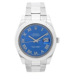 Rolex Datejust II Men's Stainless Steel Watch 116334 Blue Dial