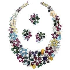 Gregg Ruth Diamond Amethyst Rubilite Tourmaline Topaz Flower Necklace Suite