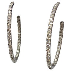 Hearts on Fire 18 Karat White Gold 1.97 Carat Total Weight Diamond Hoop Earrings