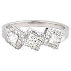 Natural White Diamond Princess Shape Engagement Wedding 18 Karat White Gold Ring